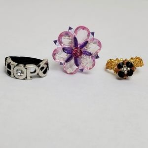 Beaded Flower Hope Stretchy Ring Lot Of 3